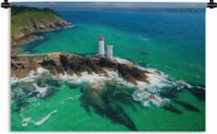 1001Tapestries Wandkleed Bretagne - Dronebeeld van Bretagne Wandkleed katoen 150x100 cm - Wandtapijt met foto