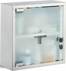 Zilveren Relaxdays Medicijnkastje roestvrij staal vierkant medicijnkast EHBO-kast afsluitbaar
