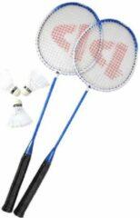 Donnay badminton set - 2 racket (blauw/wit/zwart) + 3 shuttles en bewaartas