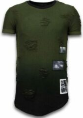 Justing Pictured Flare Effect T-shirt - Long Fit Shirt Dual Colored - Groen Pictured Flare Effect T-shirt - Long Fit Shirt Dual Colored - Groen Heren T-shirt Maat S