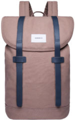 Blauwe Sandqvist Stig Large Backpack earth brown with navy leather backpack