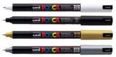 Uni-ball PC1MRAR Paintmarker Extra fijn gekalibreerde punt 0 7 mm Zilver