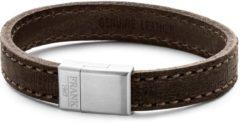 Donkerbruine Frank 1967 7FB-0203 - Heren armband met staal element - leer - lengte 21 cm - donkerbruin