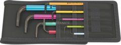 WERA 950 SPKL/9 SZ Multicolour Winkelschlüsselsatz, zöl lig, BlackLaser, 9-teilig