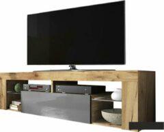 Maison Woonstore Maison's Tv meubel industrieel - Tv Kast meubel - Tv meubel - Tv Meubels - Tv meubel Grijs - Tv meubel Eiken - Grijs - Eiken - No LED -Bianko - 140x50,5x35