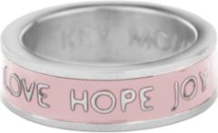 Key Moments Color 8KM R0014 54 Stalen Ring met Tekst Love Hope Joy Ringmaat 54 Zilverkleurig / Roze