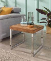 Wohnling WOHNLING Beistelltisch GUNA Massiv-Holz Sheesham Wohnzimmer-Tisch Metallgestell Couchtisch Landhaus-Stil dunkelbraun natur