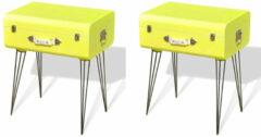 VidaXL Nachtkastjes 2 st 49,5x36x60 cm geel