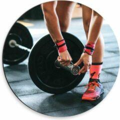 Roze KuijsFotoprint Dibond Wandcirkel - Fitness Gewichtheffen - 30x30cm Foto op Aluminium Wandcirkel (met ophangsysteem)