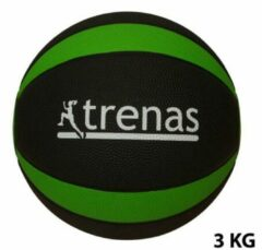 Trenas - Pro Medicijnbal - Medicine bal - Rubber - 3 kg - Zwart-Groen