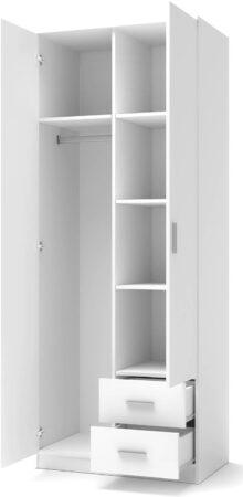 Afbeelding van Home Style Kledingkast Lima 80 cm breed in hoogglans wit