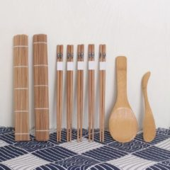 Bruine Davim Bamboe Sushiset - 5 paar chopsticks + 2 sushimatten + rijstlepel + sushimes