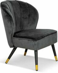 Lanterfant® Lanterfant Fauteuil Guus – Velvet – Relaxstoel - Donkerggrijs