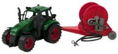 Warenhuisgigant Tractor frictie met haspelaanhanger 37cm. Rood of groen