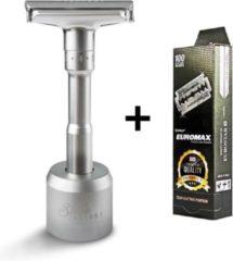 The Shave Factory EUROMAX 100 Scheermesjes Double Edge Messen, Blades + TSF Safety Razor, Veiligheidsscheermes, klassiek open scheermes