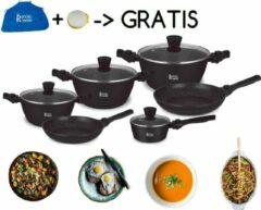 Zwarte Royal Swiss - Pannenset 12-delige - Inductie - Steengoeden Pannensets - Afneembare handgreep - Glazen deksel - Geschikt voor oven - PFAS-vrij - Schort en sponsvrij GRATIS