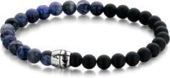 Donkerblauwe Frank 1967 Beads 7FB 0411 Natuurstenen armband - 20 cm / 6 mm - Blauw / Zwart