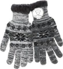 Merkloos / Sans marque Gebreide winter handschoenen grijs met Nordic print voor heren