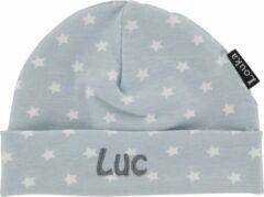 Louka babymutsje met naam lichtblauw met witte ster-newborn-0-3mnd-katoen-blauw
