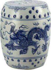 Fine Asianliving Keramische Kruk Blauw Wit Draak Porselein Stoel B33xH45cm Chinese Meubels Oosterse Kast