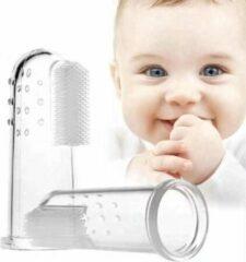 Transparante NLstuff4U everything you need Baby tandenborstel - vingertandenborstel kindertandenborstel op vinger siliconen - Met opberg doos - 2 Stuks