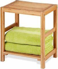Naturelkleurige Decopatent® Bamboe Handoekenrek - Badkamer bankje - Houten Handdoeken rek - bank voor in badkamer - Badkamerkruk - Badkamerstoel