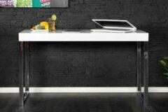 Interieurs online Bureau Hoogglans wit 120cm Poten verchroomd metaal