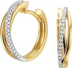 Zilveren The Jewelry Collection Klapoorringen Diamant 0.12ct (2x0.06ct) H Si - Bicolor Goud