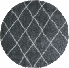 Grijze Veercarpets Vloerkleed Jeffie - ø200 cm - Rond - Grey - Hoogpolig - Berber