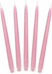 Merkloos / Sans marque 10x stuks Dinerkaarsen licht roze 24 cm - 5 Branduren - Kandelaar kaarsen
