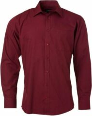 Donkerrode James & Nicholson James and Nicholson Heren Longsleeve Poplin Shirt (Wijn)