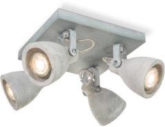 Light Depot - LED Opbouwspot Vedi - Beton - Grijs - 4 Lichts - Verstelbaar - ↔ 23 cm grijs beton