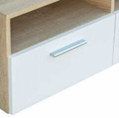Bruine VidaXL Tv-meubels 95x35x36 cm spaanplaat eikenkleurig en wit 2 st