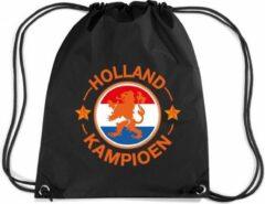 Bellatio Decorations Holland kampioen leeuw rugzakje - nylon sporttas zwart met rijgkoord - Nederland/oranjesupporter - EK/ WK voetbal / Koningsdag