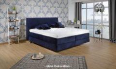 Breckle Boxspringbett Shan Classic 200x200 cm inkl. Kissenset u. Wende-Topper - Schwebeoptik - Samtstoff dark blue
