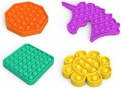 Pets Fortune Fidget Toys Pakket - 4 stuks - Fidget toys set - Oranje achthoek - Gele bloemen - Paarse eenhoorn - Groen vierkant