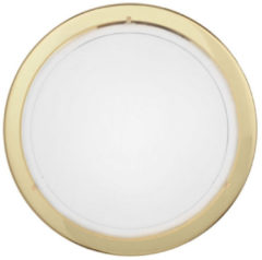 Gouden EGLO Planet 1 - Wand/Plafondlamp - 1 Lichts - Messing - Wit, Helder
