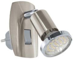 Grijze EGLO Mini 4 - Stekkerspot - 1 Lichts - Nikkel-Mat, Chroom
