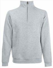 Zwarte Fruit of the Loom Lichtgrijze fleece sweater/trui met rits kraag voor heren/volwassenen - Katoenen/polyester sweaters/truien 2XL (EU 56)