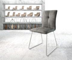 Zilveren DELIFE Stoel Maddy-Flex slipframe roestvrij staal vintage suede-look grijs