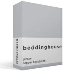 Grijze Beddinghouse Jersey Topper Hoeslaken - 100% Gebreide Jersey Katoen - Lits-jumeaux (160x200/220 Cm) - Light Grey