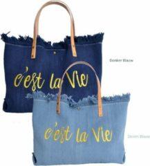 Giuliano - Canvas Shopper C'est La Vie Denim Blauw