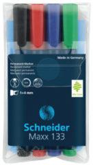 Marker Schneider Maxx 133 permanent beitelpunt etui á 4 stuks S-113394