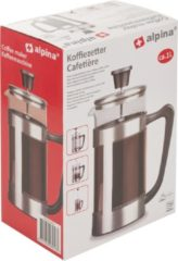 Roestvrijstalen Alpina cafetière - 1l - 8 koffie - RVS/ glas/ kunststof