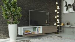 Maxima House VIGO I Zwevend TV Meubel - TV Meubel Wit / Maple - TV Kast Meubel - Modern Design - 30x180x40 cm
