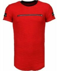 Justing Exclusief Zipped Chest - T-Shirt - Rood Heren T-shirt M