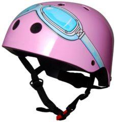 Kiddimoto Roze Bril - Medium - Geschikt voor 4-10jarige of hoofdomtrek van 53 tot 58 cm - Kinderhelm - Fietshelm - Skatehelm