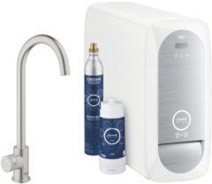Grohe Blue Home 1-gats keukenkraan m. duo C-uitloop starterkit m. Wifi bluetooth Chilled & Sparkling 3x gekoeld + 3x bruisend water chroom 31455001
