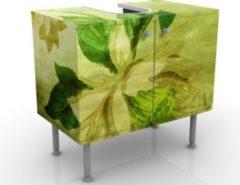 PPS. Imaging Waschbeckenunterschrank - Green Blossoms - Blumen Badschrank Grün