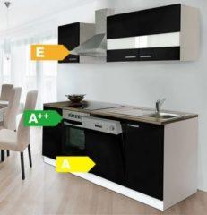 Respekta kitchen economy Respekta Küchenzeile KB220WSC 220 cm Weiß - Schwarz